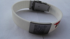 Unique QR Code silicone bracelet with metal plate