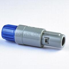 Straight plug solder contact Blue nut
