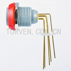 Fixed Receptacle with two nuts, PCB 90C Red nut