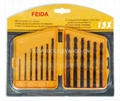 13pcs hss drills with plastic box and