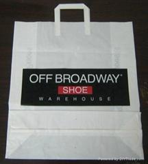 HDPE White Printed Plastic Tri Fold handle bag