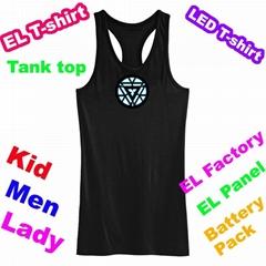 EL Flashing Iron Man Tank Top Flash Clothes Entertainment T-shirt EF236
