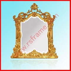 Supply high-grade of gold ornamental engraving Hotels PU decorative mirror frame