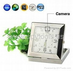 Square Clock Style Spy Camera Digital Video Recorder with CMOS Sensor - Silver
