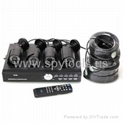 with 4 IR Night Vision Waterproof 1/3''SONY CCD Cameras+4x20M BNC to BNC