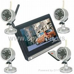 2.4GHz Wireless Security Systems Kit baby monitor(7 Inch LCD Screen + 4 Cameras)