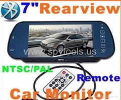 "7"" Bluetooth Car monitor with USB SD With MP5 Color TFT LCD Car Rearview Mirror"