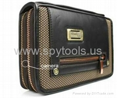 Golden Zipper Handbag DVR Spy Camera Good Hidden Spy Bag Built-in 4GB Memory