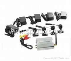 4 Channels Surveillance KIT 2.4GHz Receiver CCTV Security Camera IR Night Vision