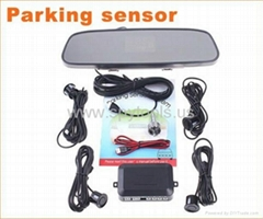 4 Parking Sensors Car Backup Reverse Radar Rearview Mirror