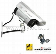 Fake Dummy Solar Powered Security CCD Camera with Red Blinking LED