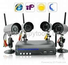 IP Camera Server with 4 Wireless Cameras Outdoor IR Cameras with Motion Detectio