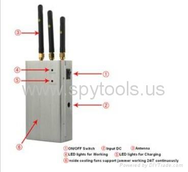 Silencer Portable Handheld Full Spectrum CDMA/GSM/3G Mobile Cellphone Signal Jam 3