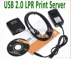 Network USB 2.0 LPR Print Server Hub Adapter Ethernet LAN