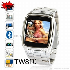 Tw810 Quad Band Camera Bluetooth Java GPRS 1.6-Inch Touch Screen Watch Phone Sil