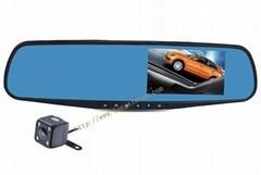 mirror car dvr with 2 lens