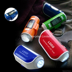 Pedometer calorie km counter with LED torch,siren function