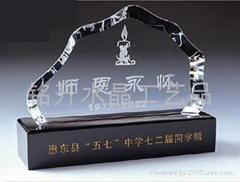 水晶内雕奖牌、感恩纪念礼品、世博会、深圳水晶