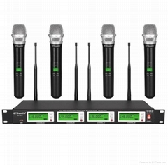 G-787 True diversity 4*100 channel UHF wireless Handheld microphone (1 set)