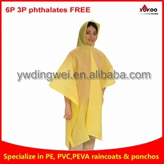 110g Yellow PEVA rain poncho for
