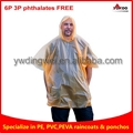 110g Yellow PEVA rain poncho for festival