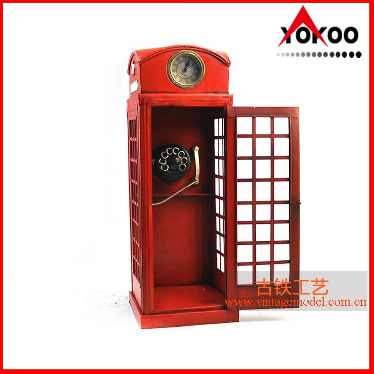 Handmade antique metal decoration (1920 RED LONDON TELEPHONE BOOTH) 1