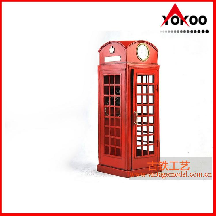 Handmade antique metal decoration (1920 RED LONDON TELEPHONE BOOTH) 4