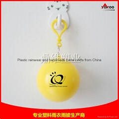cheap pe disposable rain poncho with keychain ball for promotion