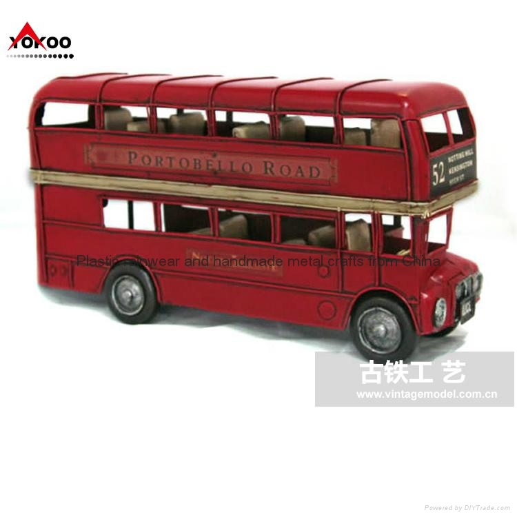 Handmade vintage bus model for decoration (1905 RED LONDON DOUBLE-DECKER BUS) 1