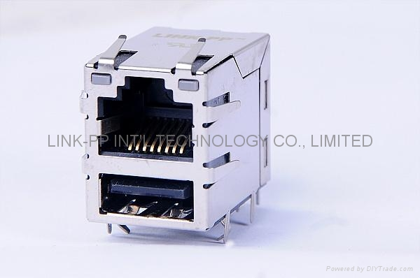 0821-1X1T-36-F RJ45 Connector With USB connettori usb