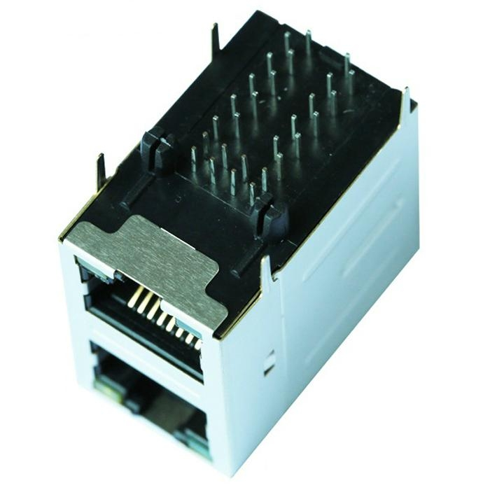 0879-2C1R-54 2X1  RJ45 Connector With Gigabit Integrated Magnetics
