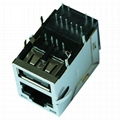 0821-1X1T-32-F With Single Port USB RJ45 Connector With Gigabit Magnetics