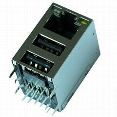 JW0-0006NL 10/100/1000 Base-t Single Port With Dual USB RJ45 Connector
