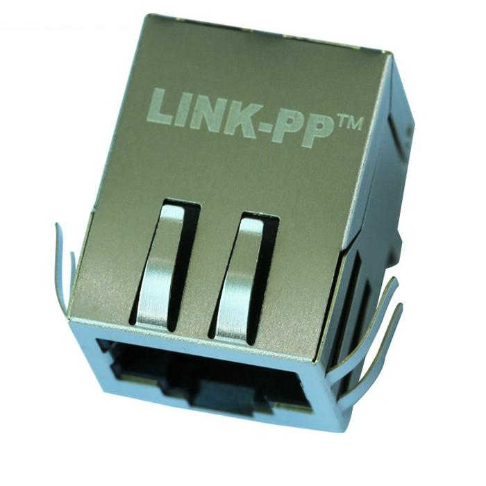 J00-0025 Tab-Down 1x1 RJ45 8 Pin Female Connector