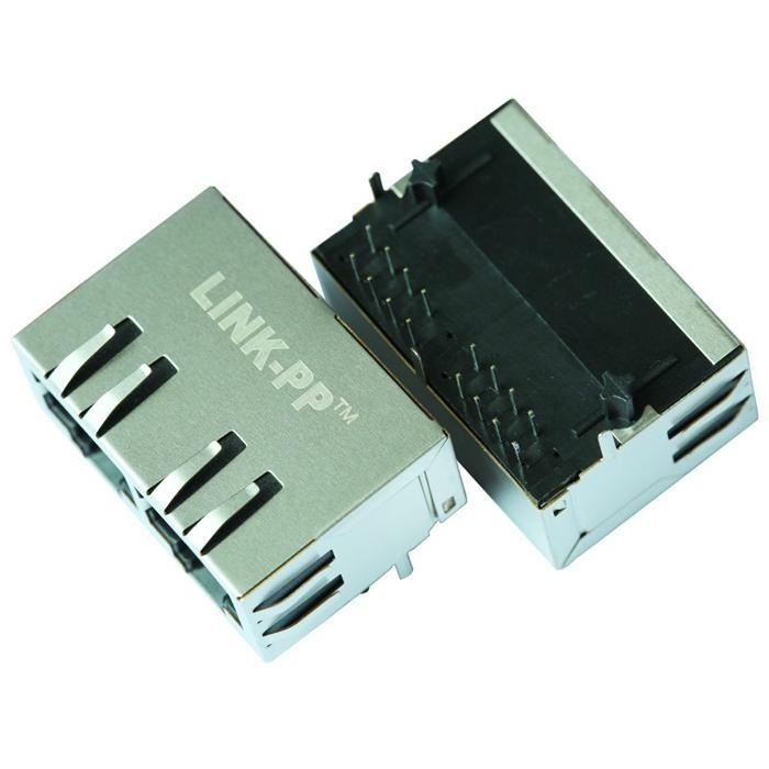 HFJ12-2441E 1X2 10/100BASE-TX RJ45 Connectors Integrated Magnetics