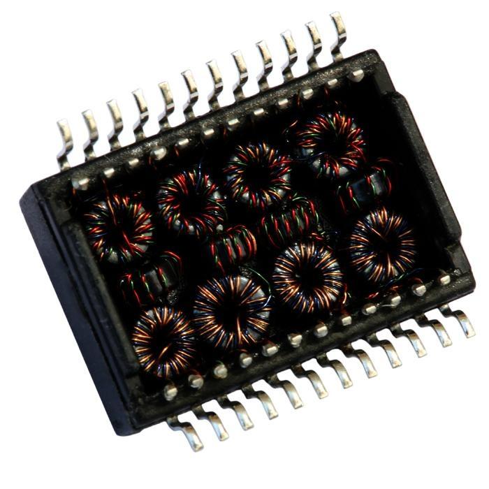 H2002DG 10/100 Base-t Single Port Through Magnetics Lan Transformer