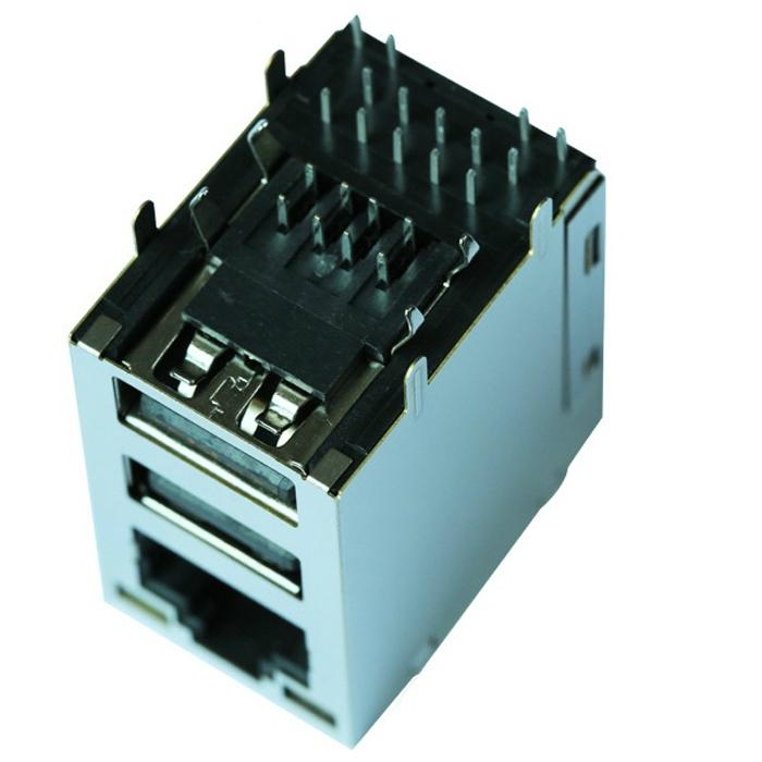 1-6620000-3 Gigabit Single Port With USB RJ45 Connector With Magnetics