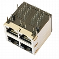 1-1840697-4 Stacked Gigabit 2X2 RJ45 Connector With Magnetics