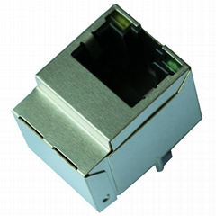 1-1840419-4 10/100 Base-t Single Port Vertical RJ45 Connector With Magnetics