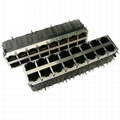 0811-2X8T-28 Stacked 2X8 10/100Base-t RJ45 Modular Connectors