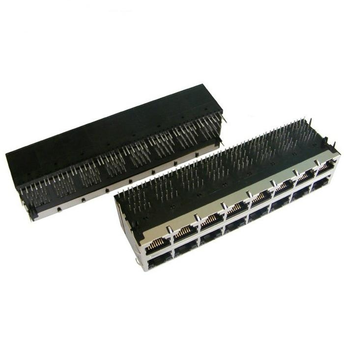 0811-2X8R-19 Stacked 2X8 10/100 Base-t RJ45 Ethernet Connectors