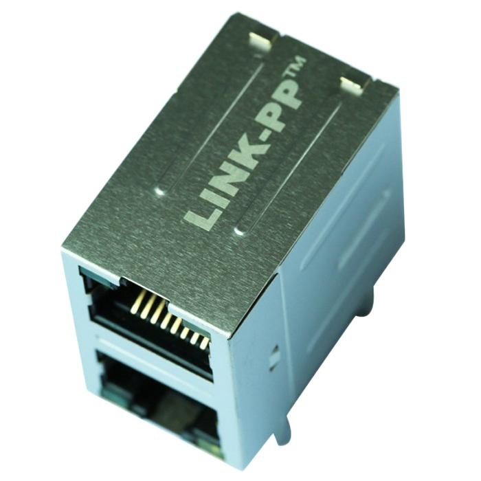 0845-2R1T-E4 Stacked 2X1 Gigabit  RJ45 Connector Module With Integrated Magnetic