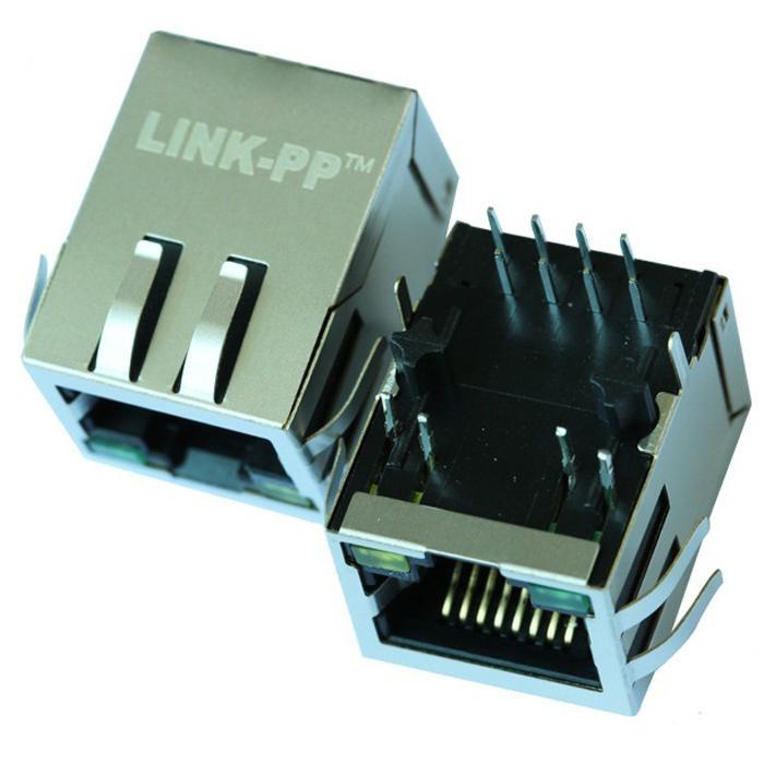 HFJ11-1041E-L12RL Tab Down 10 Base-t Shielded RJ45 Connector With LED