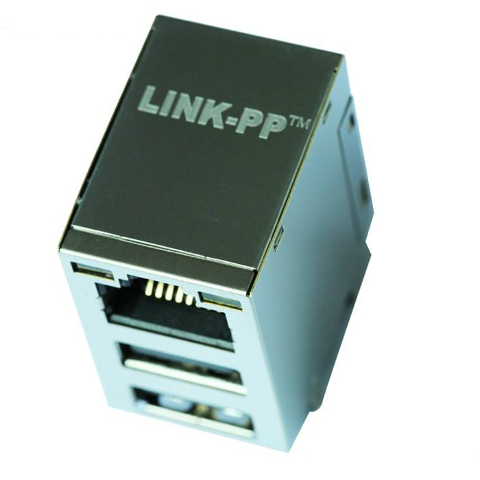 JW0-0009NLRJ45 Connector with 10/100 Base-T Integrated Magnetics With Dual USB