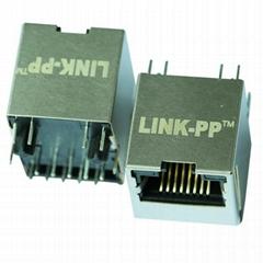 HFJV1-2450-L11RL Vertical RJ45 Connector with 10/100 Base-T Integrated Magnetics