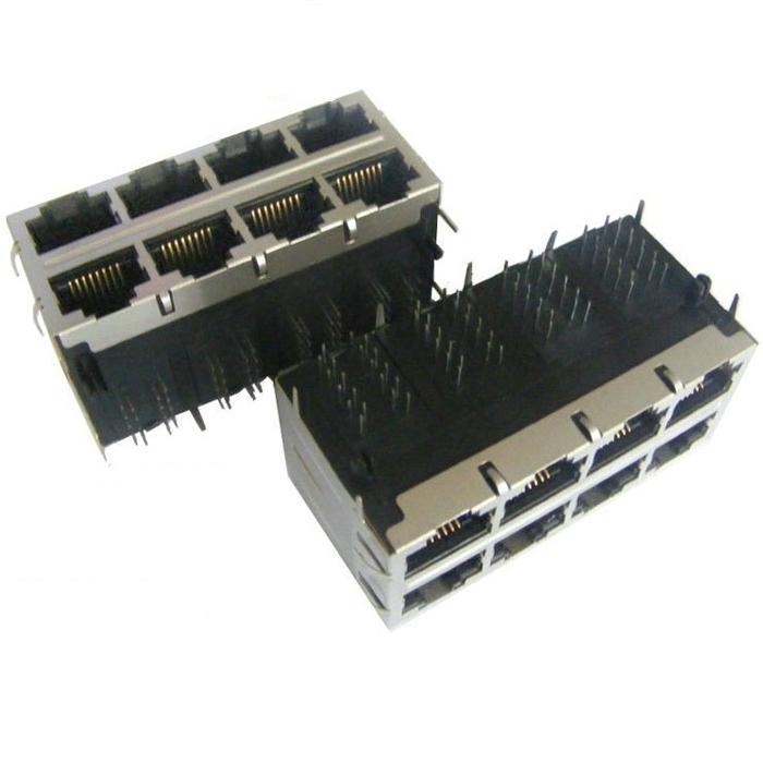 1-1734715-2 2X4 RJ45 Connector Modular Jack 8P8C R/A Shieled