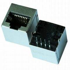 MJ303A-8000-21D 10/100 Base-T Vertical RJ45 Connector With Integrated Magnetics