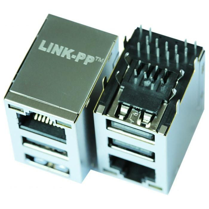 45F-10201DYDXNL RJ45 Connector with 10/100 Base-T Magnetics With Dual USB