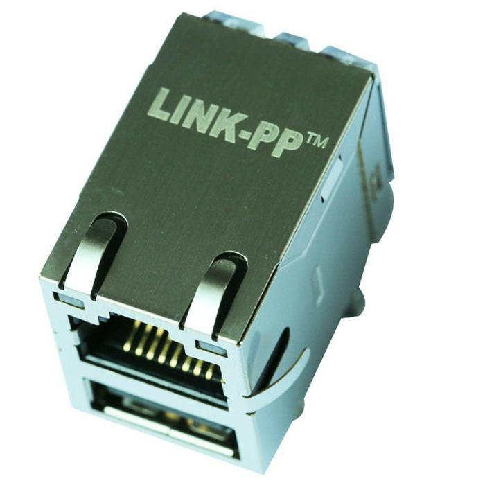 43F-1201DYD2NL RJ45 Connector with Integrated Magnetics With Single USB