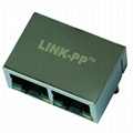 62F-1207GYDNW2NL 2 Port Stacked RJ45 Magnetic Connector
